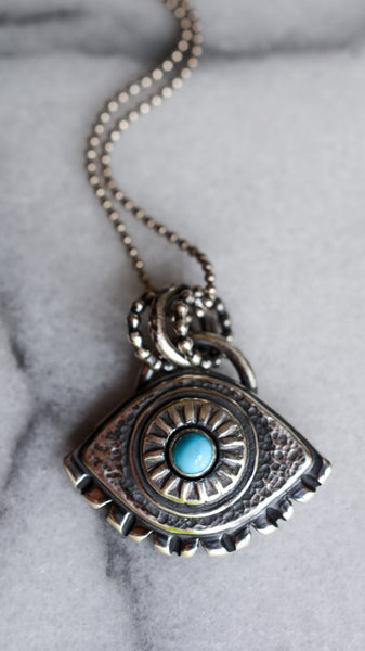 Eye Pendant with Sleeping Beauty Turquoise + Sterling Silver
