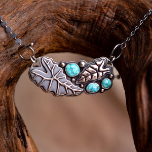 Necklace: Leaves in Sterling + Whitewater Turquoise