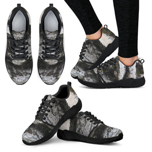 Women's Athletic Sneaker Black - Textured Tree Bark Design