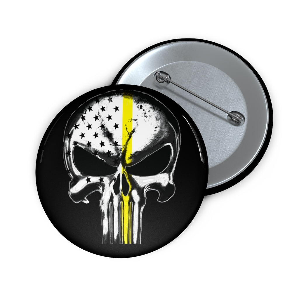 Thin Yellow Line Skull Pin Buttons