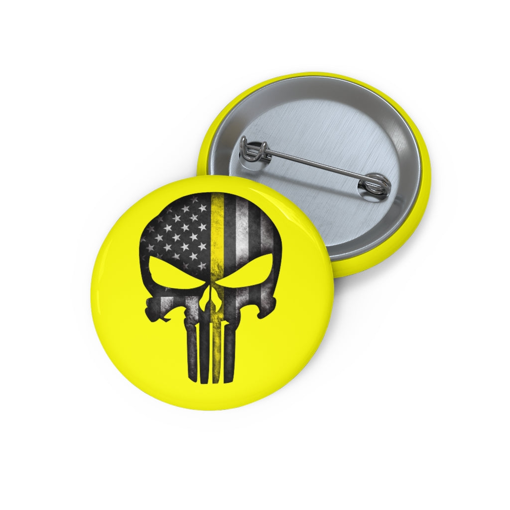 Thin Yellow Line Skull Custom Pin Buttons