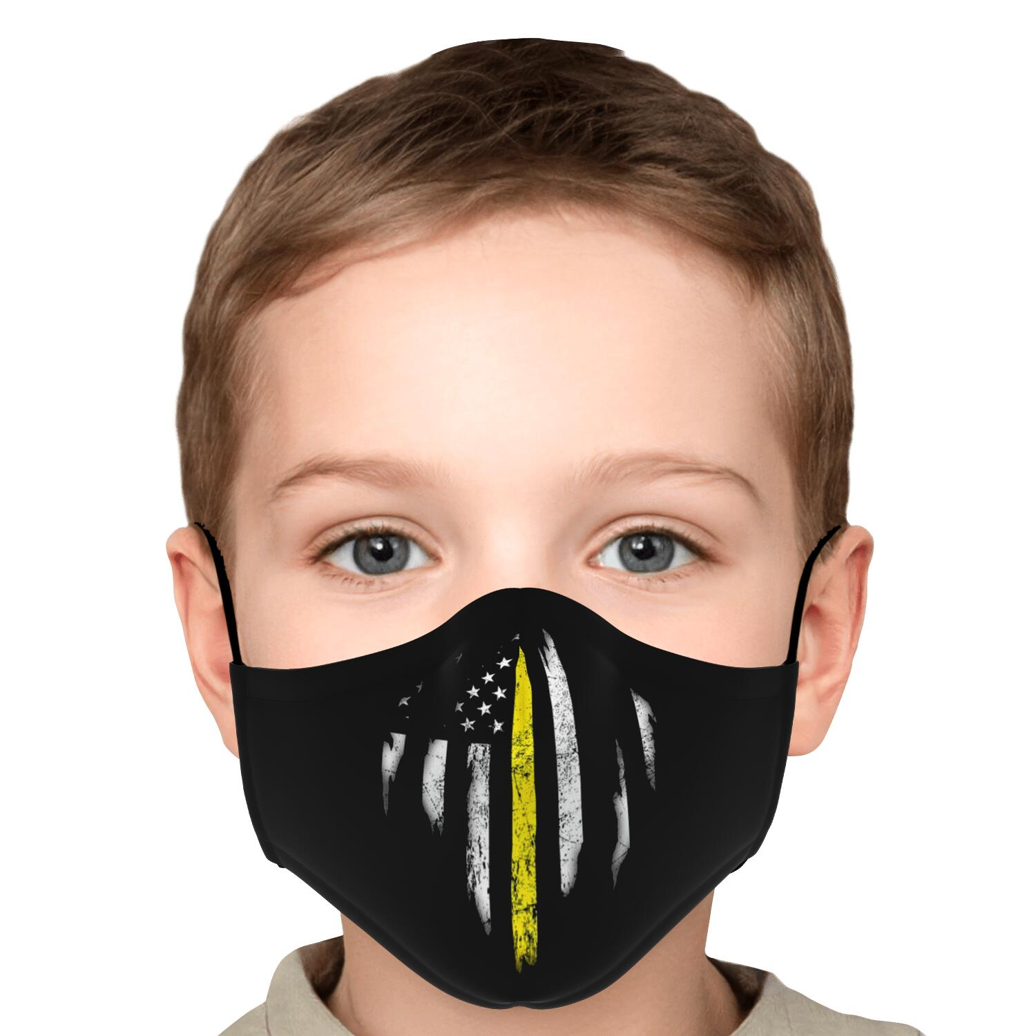 Thin Yellow Line Kids Face Mask