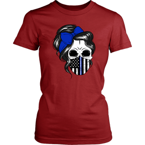 Skull with Messy Bun and Police Flag Mask Shirt