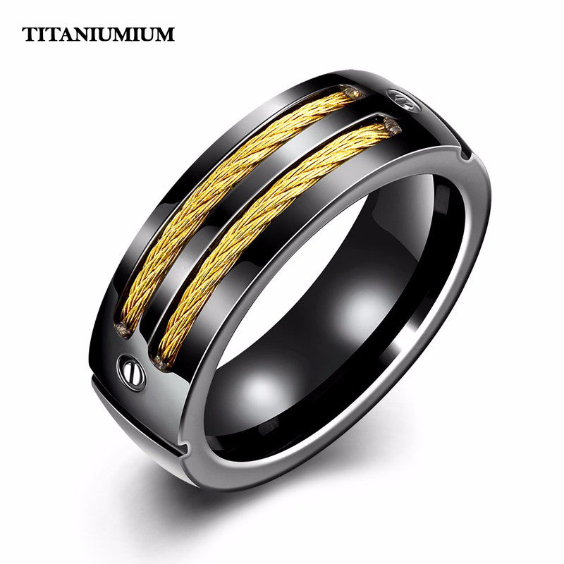 Premium Titanium Silver Double Cables Ring