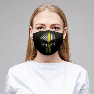 Thin Yellow Line Skull Face Mask (Unisex)