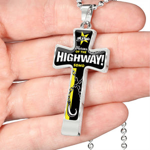 HEROES OF THE HIGHWAY LUXURY CROSS NECKLACE