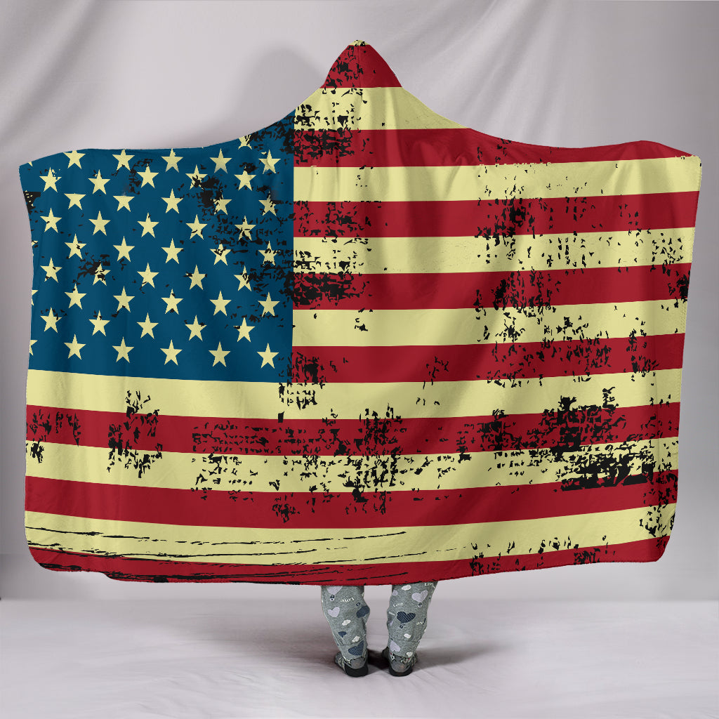 NP American Flag Hooded Blanket