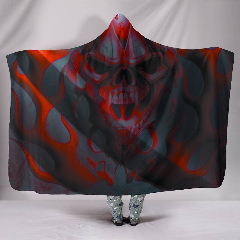 Black and red skull Hooded Blanket