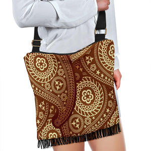 Sweet Brown Paisley Crossbody Bobo Handbag