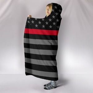 Thin Red Line Hooded Blanket