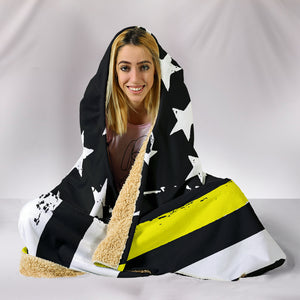 Thin Yellow Line Hooded Blanket
