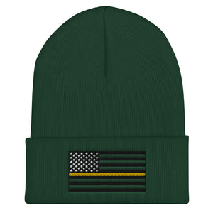 Thin Yellow Line Cuffed Beanie
