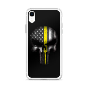 Thin Yellow Line Skull iPhone Case