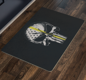 Thin Yellow Line Skull Doormat