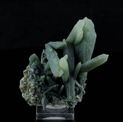3.3 inch Aesthetically Balanced PRASEM Green QUARTZ Cluster with HEMATITE from Serifos, Greece 33440-Throwin Stones