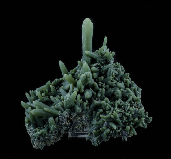 4.3 inch PRASEM Green QUARTZ Cluster with HEMATITE from Serifos, Greece 33446-Throwin Stones