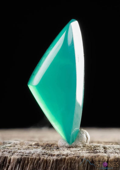CHRYSOCOLLA Cabochon Triangle - Gem Silica in Chalcedony - Gemstone Jewelry TSG-Throwin Stones