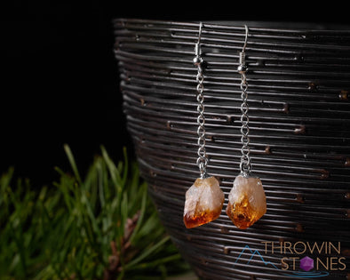 CITRINE Crystal Earrings - Birthstone Raw Stone Jewelry, Silver Dangle E1381-Throwin Stones