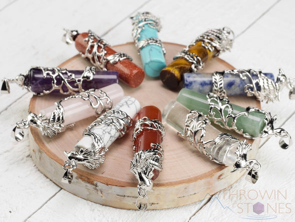 Phoenix Healing Crystal Point Pendant - Raw Stone Jewelry, Bridesmaid Gift E1019-Throwin Stones