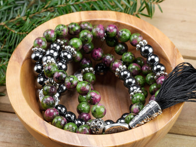 RUBY ZOISITE and HEMATITE Mala Healing Crystal Round Beaded Necklace E1355-Throwin Stones