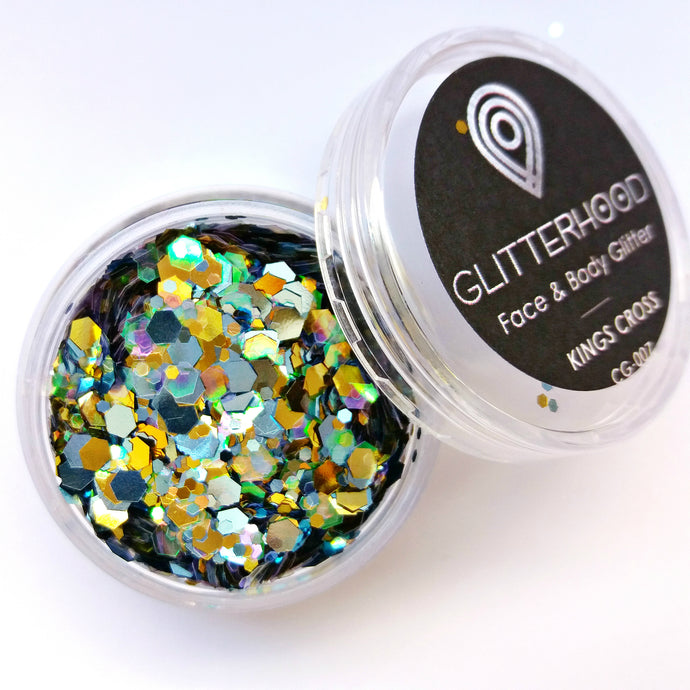 Kings Cross Gold Grey chunky glitter by Glitterhood.com