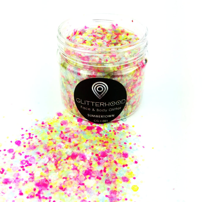 Summertown Yellow Pink chunky glitter by Glitterhood.com - large pot