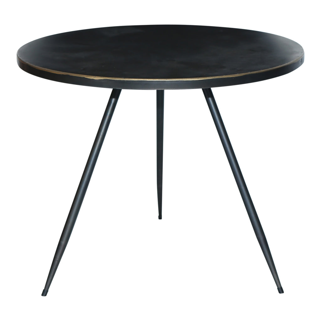One World Black & Gold Trim Round  Side Table