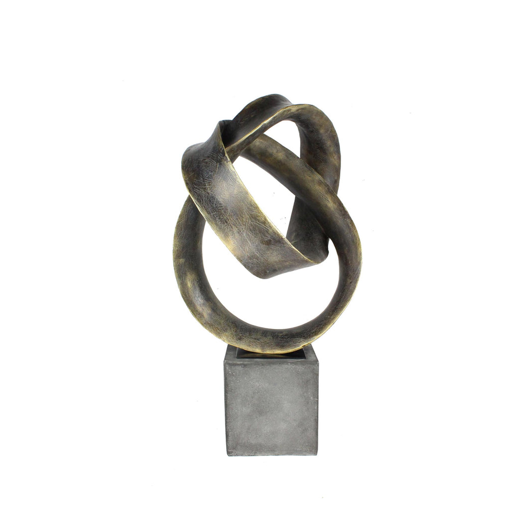 One World Antique Gold Rings Sculpture on Stand
