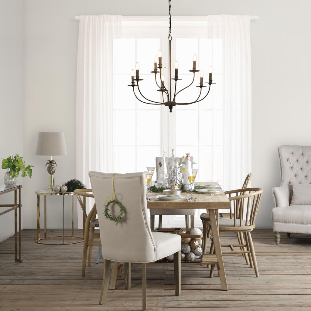 One World 9 Arm Chandelier - Taupe