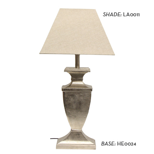 French Country Collections Urn Design Rough Silver Lamp Base and Natural Linen Shade