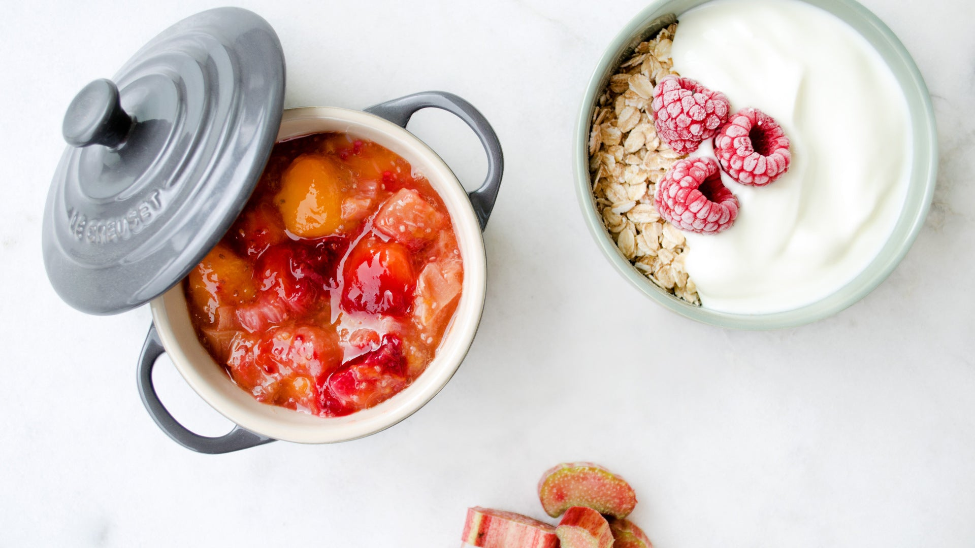 a pot with a rhubarb compost and a bowl with yoghurt and oats