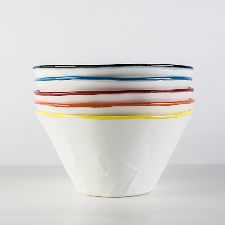 hayden youlley paper series with colored edge, dessert bowl | available www.coolfoodstuff.com