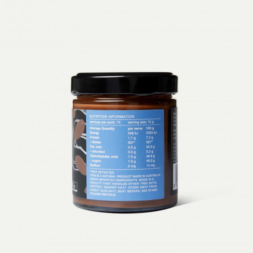 Ingredients: Coconut sugar*, hazelnuts* (36%), sunflower oil*, cacao powder* (7%), sunflower lecithin. *Ingredients certified organic.  Allergy advice: Contains Hazelnuts (tree nut). GLUTEN FREE. DAIRY FREE. WOW TASTE. SOY FREE. REFINED SUGAR FREE.