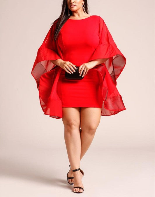 Plus Size Voluminous Bell Sleeve Low Back Dress