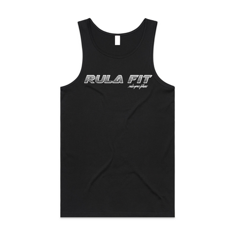 Rula Fit Racer logo tank top- BLACK - RULA FIT