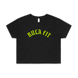 Neon Rula Fit Logo Crop Top-Black - RULA FIT