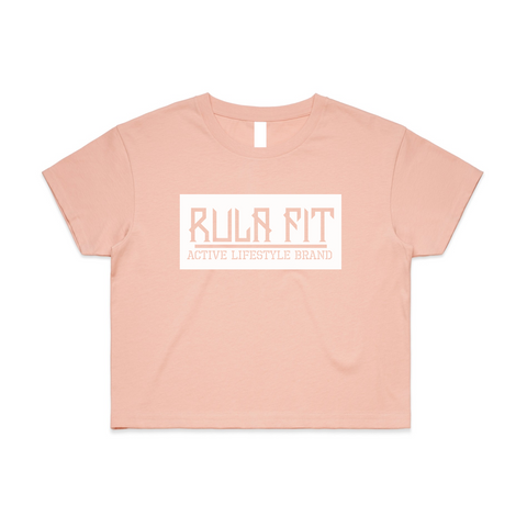Classic Box Logo Pink Cream Relaxed Crop Top - RULA FIT