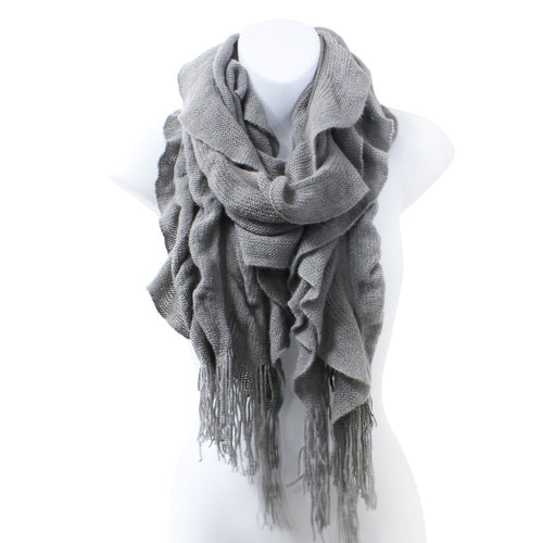 Womens Winter Knit Ruffle Gray Scarf With Fringe
