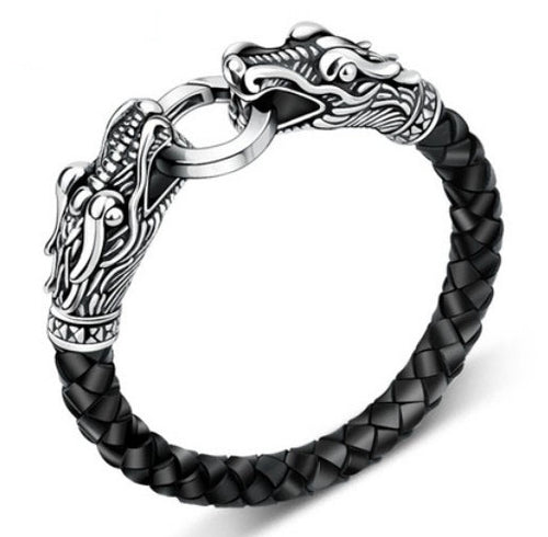 Leather Tibetan Silver Bracelet for Men