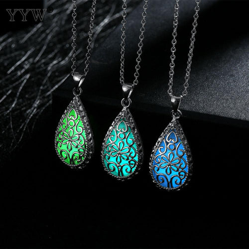 Silver Hollow Water Drop Glowing Pendant Necklace