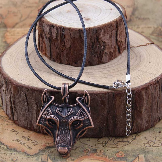 Norse Wolf Head Necklace (5 colours available)