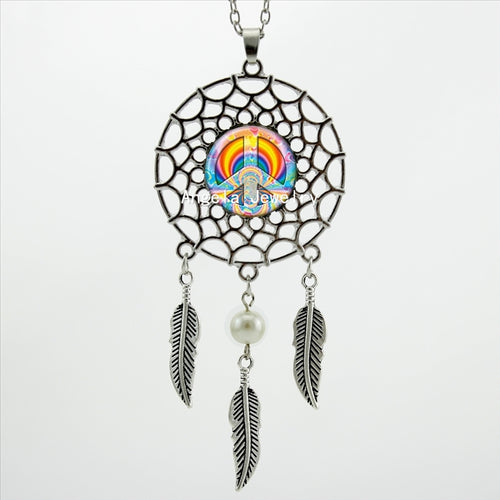 2017 Trendy Style Hippie Peace Necklace Peace Pendant Wings Shaped Jewelry Dream Catcher Necklace For Men DC-00528
