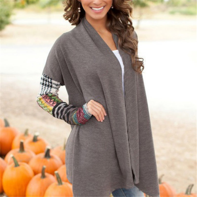 Women New Long Sleeve Knitwear Casual Outwear Jacket Coat Sweater Cardigan Gray