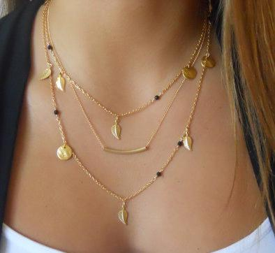 Plated Three-Bar Beads Chain Necklaces