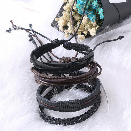 Leather Rope Charm Bangles Bracelet