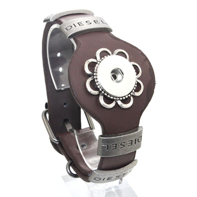 Adjustable Vintage Metal Leather Bracelet