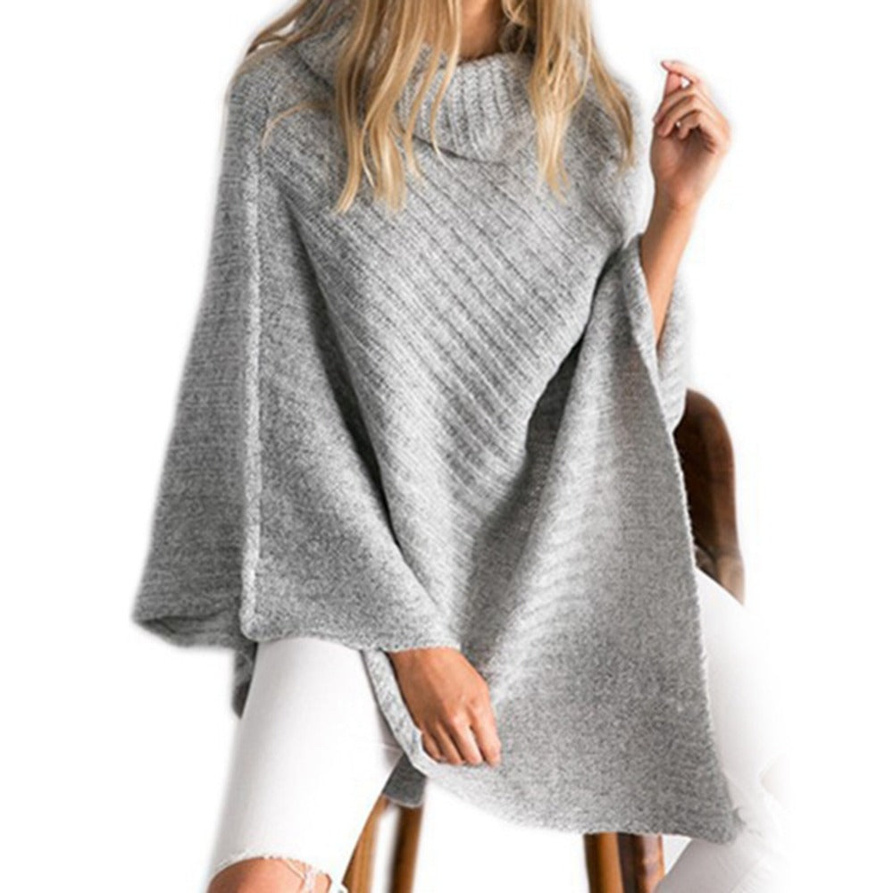 High Necked Bat Wing Poncho