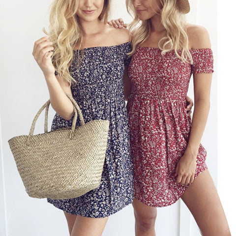 Women Beach Short Dress Sexy Strap Summer Dress Hippie Boho Dress Vestidos Beach Wear Wave Printed Tassel Spaghetti Strap Dress
