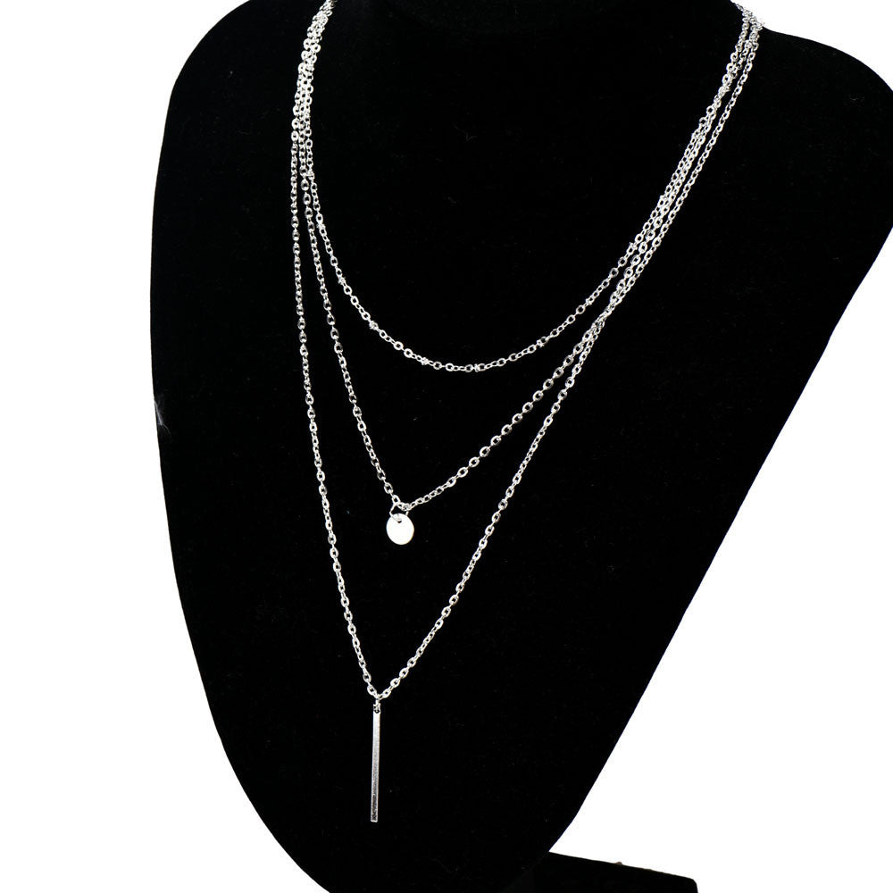 Silver Bang Multilayer Pendant Chain Necklace