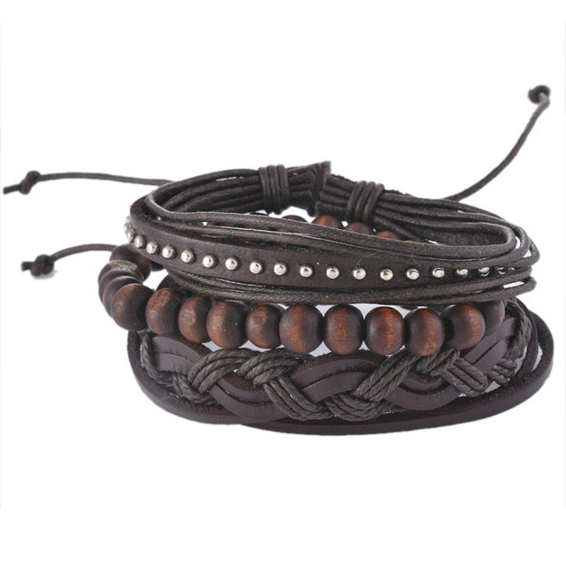 Funky Casual Multilayer Leather Bracelet